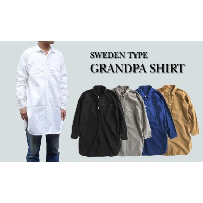 Photo1: SWEDEN TYPE GRANDPA SHIRT 4color