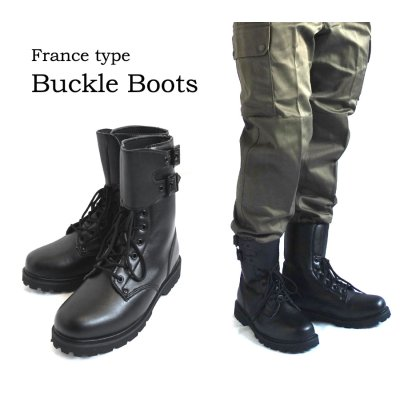 Photo1: FRANCE TYPE BUCKLE BOOTS